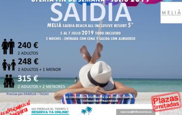 OFERTA SAIDIA MELIA BEACH – 5 JULIO ´19